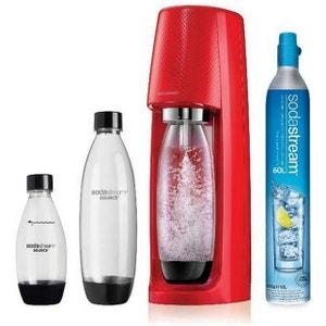 sodastream - machine à gazéifier l'eau avec 1 cylindre et 3 bouteilles - spirit mega pack rouge SODASTREAM