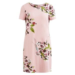 Bedrukte rechte jurk, ronde hals, korte mouwen VILA