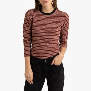 Gestreept T-shirt met ronde hals en lange mouwen