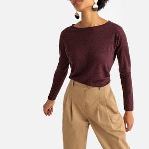 T-shirt in linnen met boothals en lange mouwen