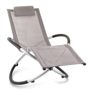 Chilly Billy Chaise longue jardin transat aluminium -taupe BLUMFELDT