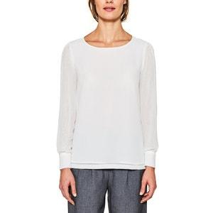 Gerade, unifarbene, langärmelige Bluse, runder Ausschnitt ESPRIT