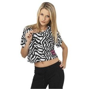 T-shirt ample et court URBAN DANCE Blanc / Noir effet Zébré Danse URBAN DANCE
