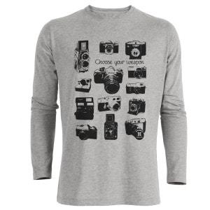 Tshirt Imprimé Bio Gris ML Homme Appareils photos vintage ARTECITA