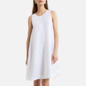 Vestido sin manga con forma evasé, de lino