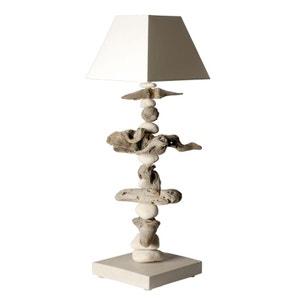 Lampe galets et bois flotté blanc cassé COC ART