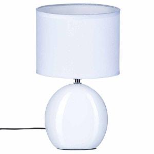 Lampe Ovale en céramique - H. 31 cm. - Blanc ATMOSPHERA
