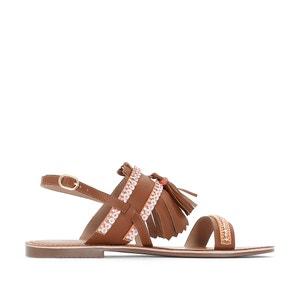 Sandalias de piel con detalle de borlas La Redoute Collections