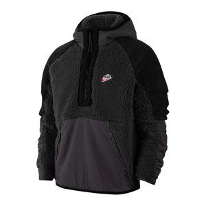 Sweater met kap en rits tot  halverwege sherpa