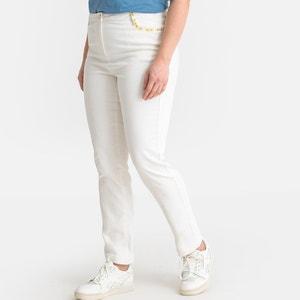 Regular rechte jeans, geborduurde afwerkingen