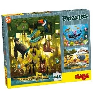 Puzzle 3 x 48 pièces : Animaux du Monde HABA