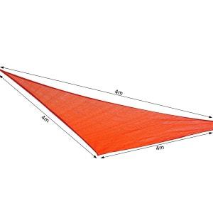 Voile d'ombrage triangulaire grande taille 4 x 4 x 4 m polyéthylène haute densité résistant aux UV rouge - OUTSUNNY OUTSUNNY