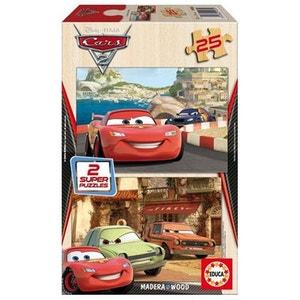 Puzzle 2 x 25 pièces en bois - Cars 2 : Flash McQueen, Grem et Acer EDUCA