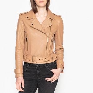 Short Zip-Up Leather Jacket OAKWOOD