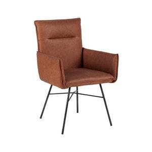 Chaise fauteuil recouvrement cuir havane et pieds métal noir 59x60x90cm PIER IMPORT