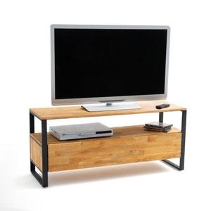 Mueble TV de roble macizo ensamblado y acero Hiba