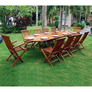 Ensemble salon de jardin en teck huilé 10-12 places - table ovale WOOD EN STOCK