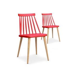 Lot de 2 chaises scandinaves rouges TAPLA DECLIKDECO