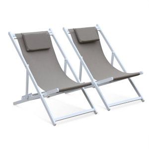 Lot de 2 bains de soleil - Gaia taupe - Transat en aluminium anthracite et textilene gris avec coussin repose tête, chilienne ALICE S GARDEN