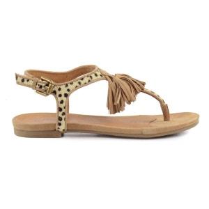 Sandales léopard avec pompons SACHA