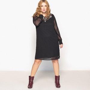 Rechte jurk met borduursels CASTALUNA