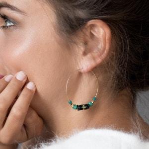 Boucles d'oreilles Créoles dorées ornées de perles AMAHLE