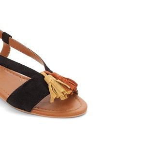 Sandálias de tacão raso e pompons CASTALUNA