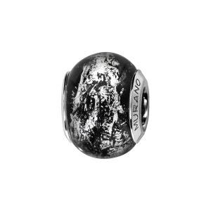 Charm Verre de Murano Noir Reflet Argent 925 - Compatible Pandora, Trollbeads, Chamilia, Biagi SO CHIC BIJOUX
