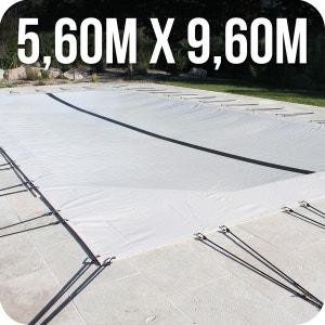 Bâche d'hivernage PVC beige 580g/m² pour piscine enterrée 5m x 9m + accessoires LINXOR