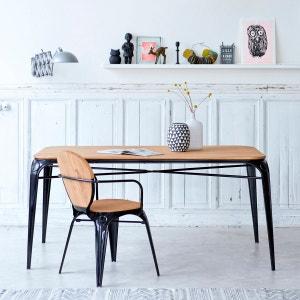 Table en métal et bois de saule 170 Sam noire TIKAMOON