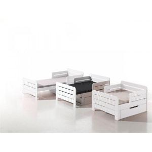 Lit Evolutif pour Enfant Pin Blanc   Tiroir 90x140/200 TERRE DE NUIT