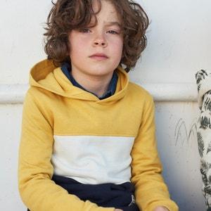 Sweater met kap in molton 3-14 jaar