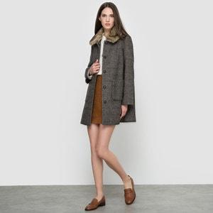 Tweed Coat with Faux Fur Collar SEE U SOON