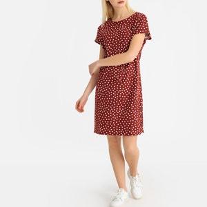 Halflange rechte jurk met stippen