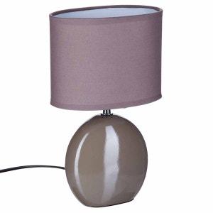 Lampe Ovale en céramique - H. 31 cm. - Taupe ATMOSPHERA