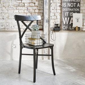 Chaise bistrot en bois d'acajou LONDRES noire BOIS DESSUS BOIS DESSOUS