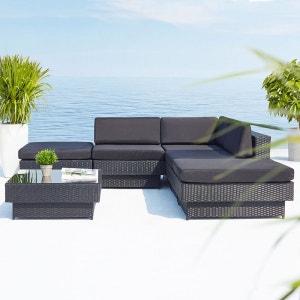 Amorgos noir : salon de jardin d'angle en résine 4 fils tressée noire poly rottin CONCEPT USINE