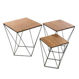Lot de 3 tables d'appoint carrées plateau bois et pieds métal façon polygone 45x45x50cm LANDAISE PIER IMPORT