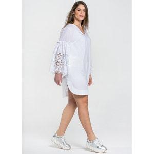 Plain Long Skater Dress with 3/4 Length Sleeves MAT FASHION