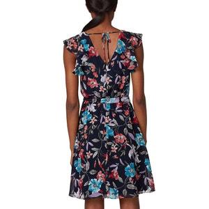 Bedrucktes, ärmelloses Kleid, Volants an den Schultern ESPRIT