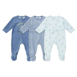 Pijama de terciopelo, lote de 3, 0 meses - 3 años La Redoute Collections