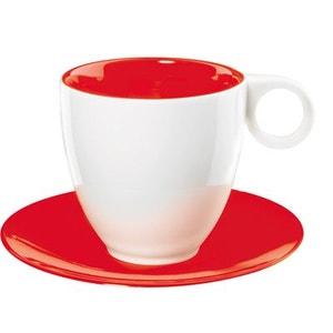 6 Tasses à café blanc/rouge en porcelaine - ASA SELECTION