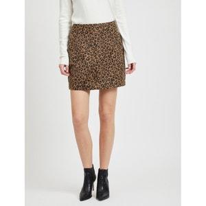 Korte rechte rok met luipaardmotief