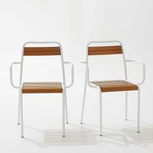 Lot de 2 fauteuils de jardin, métal et chêne teint La Redoute Interieurs
