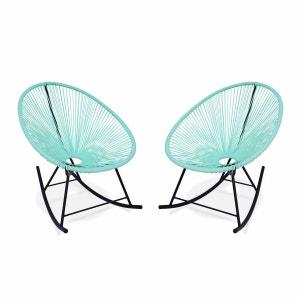 Ensemble de 2 fauteuils à bascule Acapulco chaise oeuf design rétro rocking Vert d'eau ALICE S GARDEN