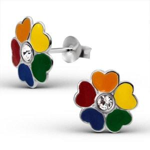Boucles d'oreilles Enfant Fleur Multicolore Arc en Ciel Cristal Blanc Argent 925 SO CHIC BIJOUX