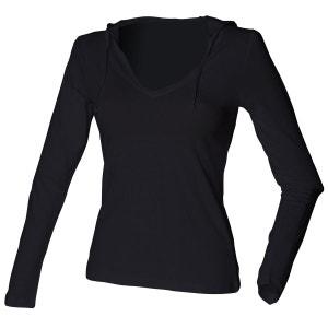 T-shirt long, léger, à capuche et col en V , femme et fille SKINNI FIT