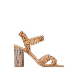 Sandálias, tacão aspeto madeira La Redoute Collections