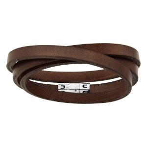 Bracelet Homme 58,5 cm Lacet 3 Tours Cuir Marron Acier Inoxydable SO CHIC BIJOUX
