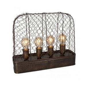 Lampe à Poser Style Industriel Métal Grillagé 4 Ampoules WADIGA